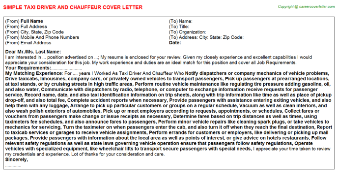 Taxi Driver And Chauffeur Cover Letters