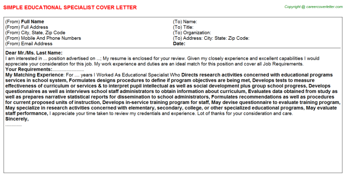 Educational Specialist Job Cover Letter