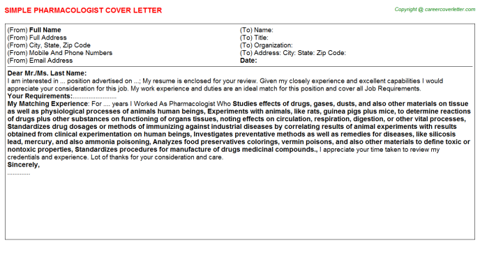 Pharmacologist Cover Letter Template