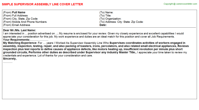 Supervisor Assembly Line Job Cover Letter