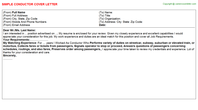 Conductor Cover Letter Template