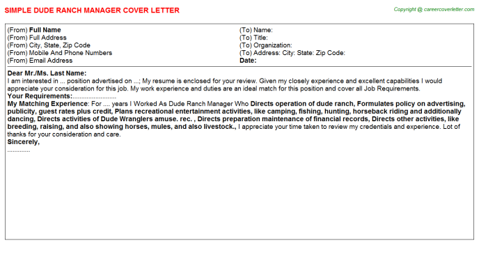 Dude Ranch Manager Cover Letter Template