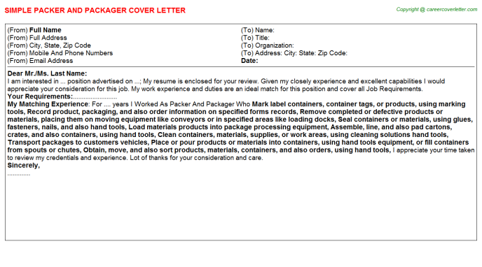 packer and packager cover letter template