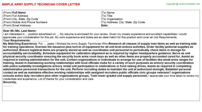 Army Supply Technician Job Cover Letter