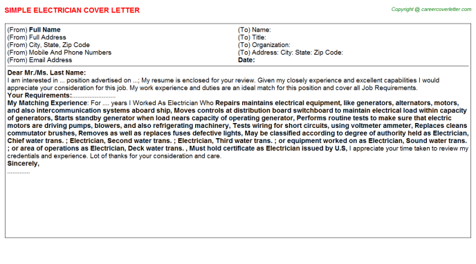Electrician Cover Letter Template