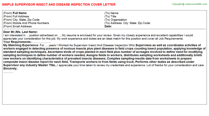 supervisor insect and disease inspection cover letter template