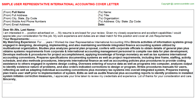 Accounting Volunteer Cover Letters