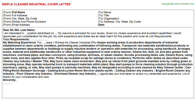 Cleaner Industrial Job Cover Letter Template