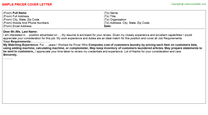Pricer Job Cover Letter Template