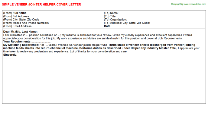 Veneer jointer Helper Cover Letter Template