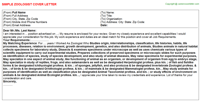 Zoologist Job Cover Letter Template