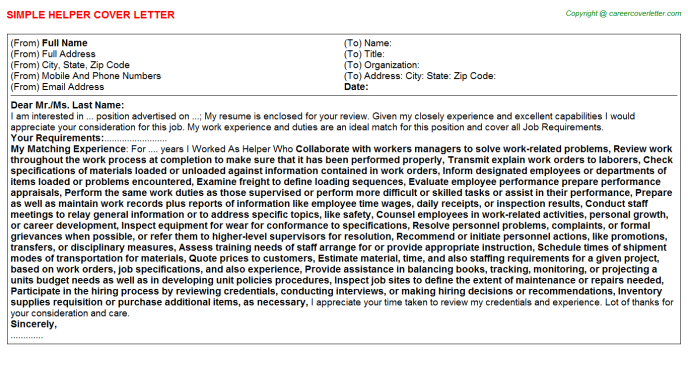 Helper Job Cover Letter Template