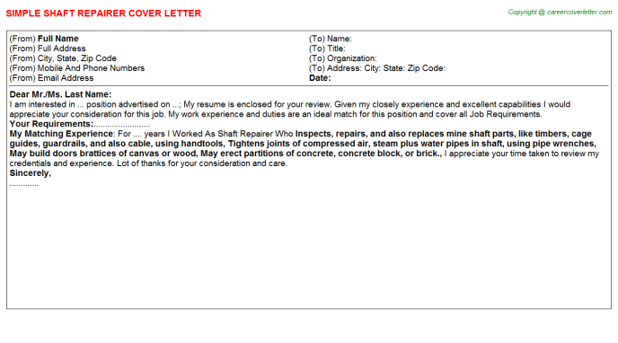 Shaft Repairer Cover Letter Template