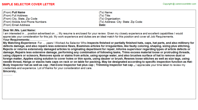 Selector Cover Letter Template
