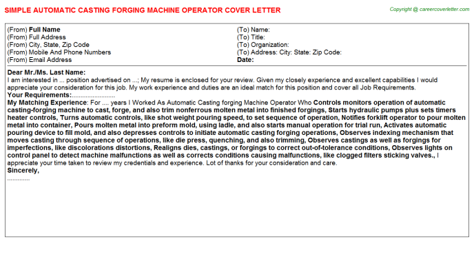 Automatic Casting forging Machine Operator Cover Letter Template