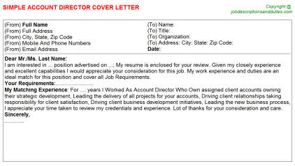 Account Director Job Cover Letter Template