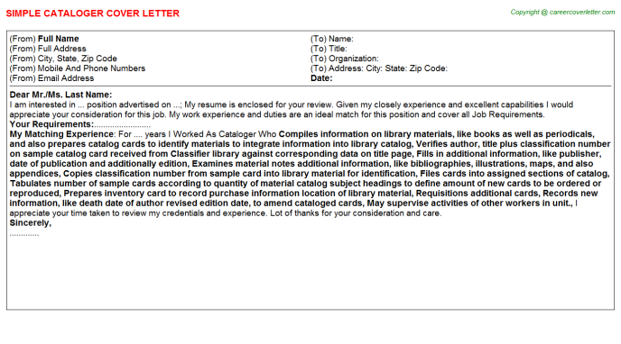 Cataloger Job Cover Letter Template