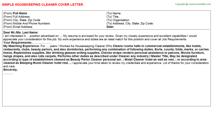 Housekeeping Cleaner Cover Letter Template