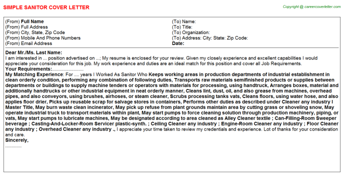 Sanitor Cover Letter Template