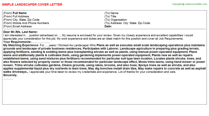 Landscaper Job Cover Letter Template