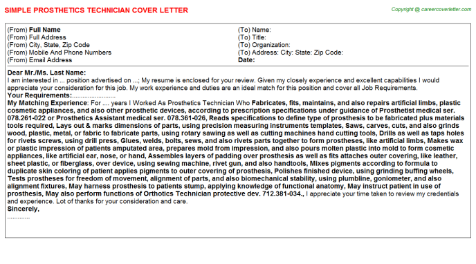 Prosthetic Cover Letters