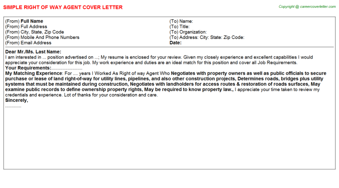 Right Of Way Agent Job Cover Letter Example