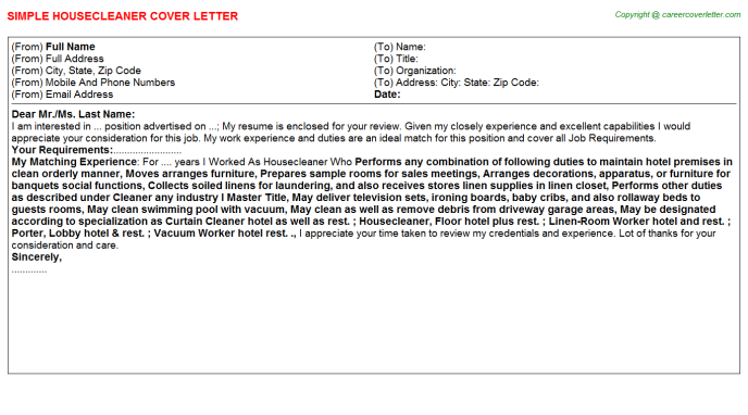 Housecleaner Cover Letter Template