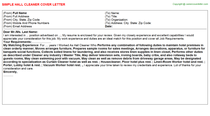 Hall cleaner job cover letter (#5225)