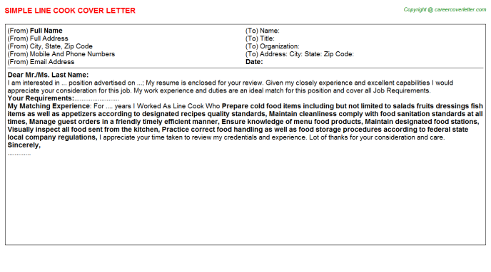 Line Cook Job Cover Letter Template