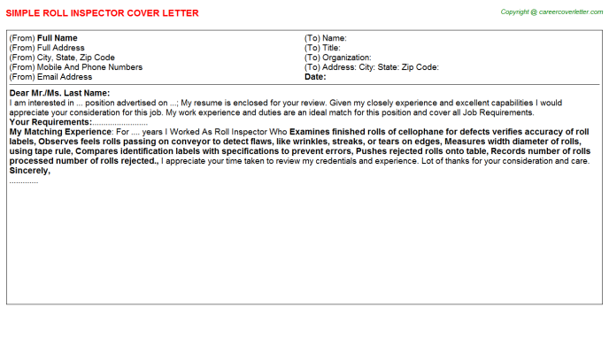 roll inspector cover letter template
