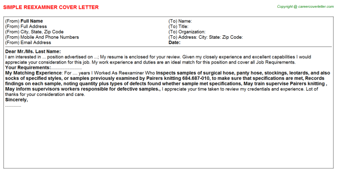 Reexaminer Job Cover Letter Template