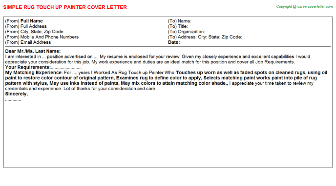 rug touch up painter cover letter template