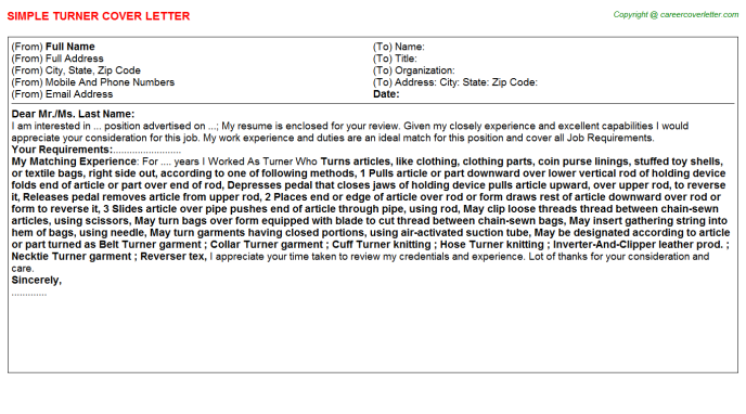 Turner Cover Letter Template