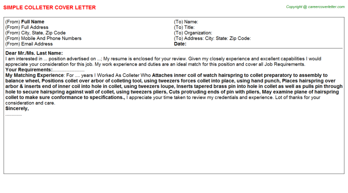 Colleter Cover Letter Template