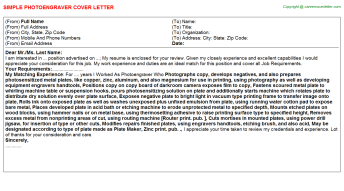 Photoengraver Cover Letter Template