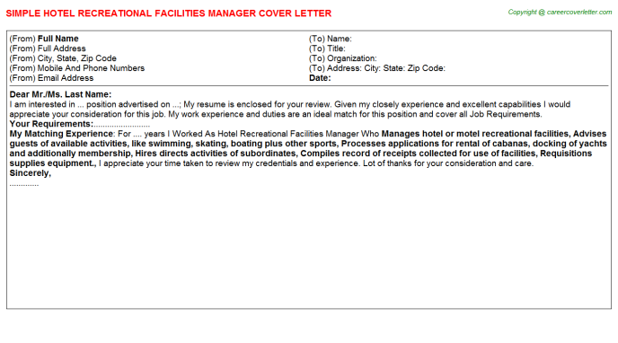 Hotel Recreational Facilities Manager Job Cover Letter