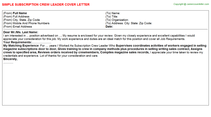 subscription crew leader cover letter template