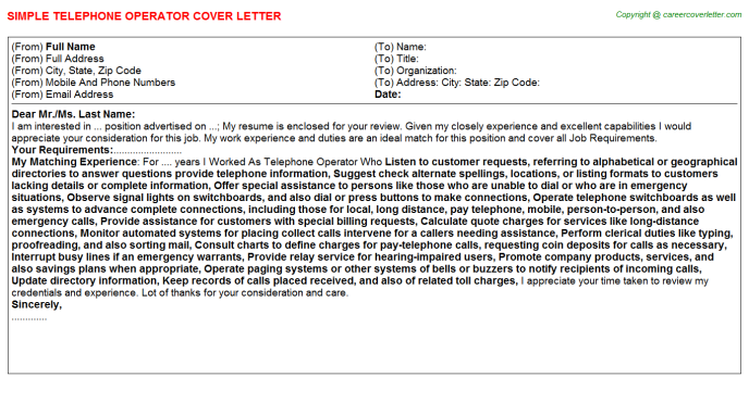 Telephone Operator Cover Letter Template