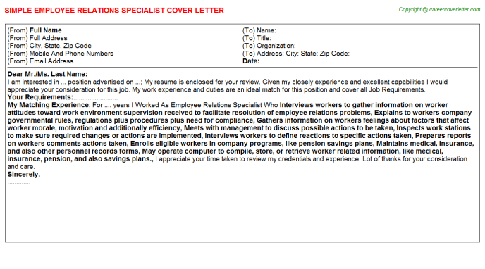 Employee Relations Specialist Job Cover Letter Template