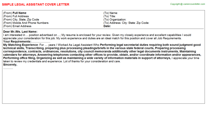Legal Assistant Cover Letter Template