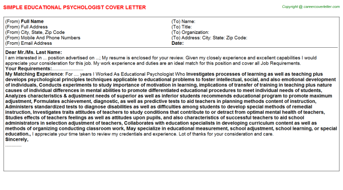 Educational Psychologist Cover Letter Template