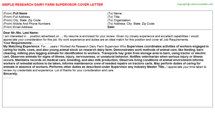 Research Dairy Farm Supervisor Cover Letter Template