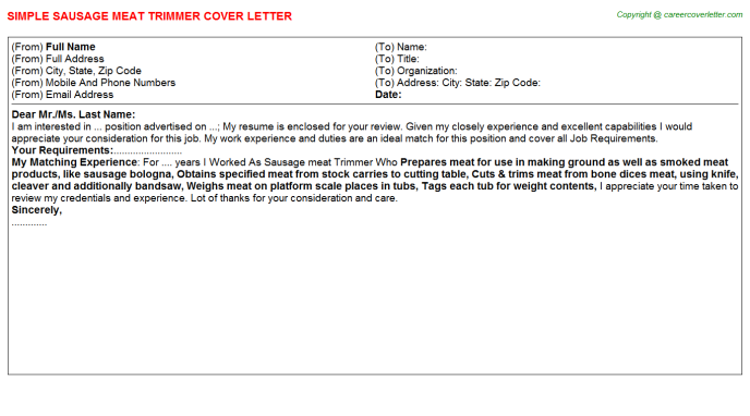 sausage meat trimmer cover letter template