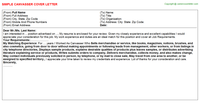 Canvasser Cover Letter Template