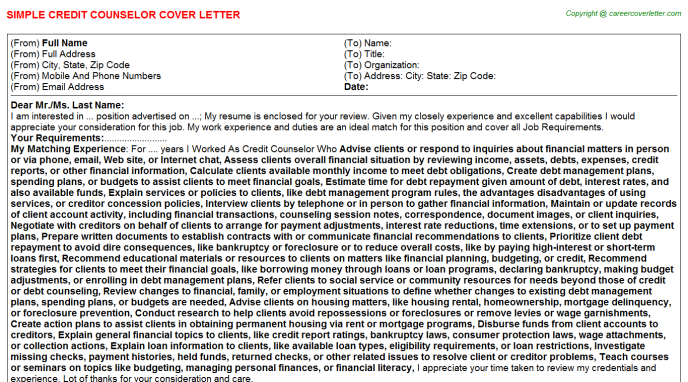 Credit Counselor Job Cover Letter