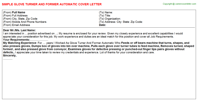Glove Turner And Former Automatic Cover Letter Template