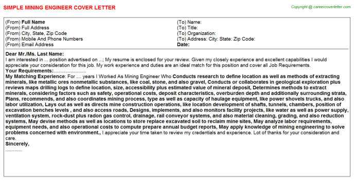 Mining Engineer Job Cover Letter