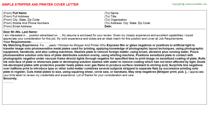 Stripper And Printer Cover Letter Template