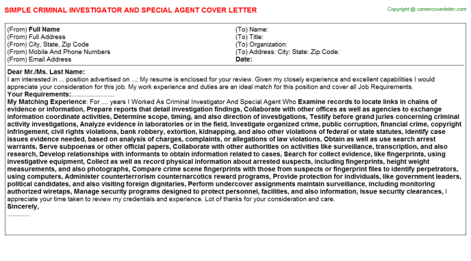 Criminal Investigator And Special Agent Job Cover Letter Template