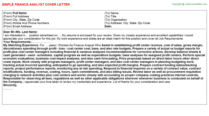 Finance Analyst Job Cover Letter Template